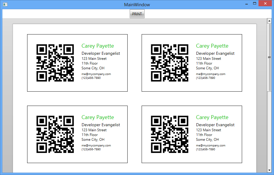 How To Create Business Cards with QR Codes using RadBarcodeQ