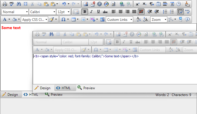 How MS Word content looks in RadEditor