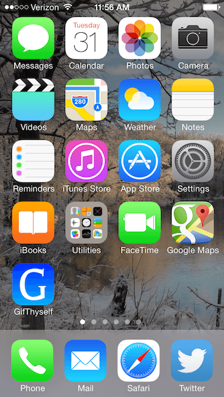 iOS home screen containing the custom GifThyself project icon