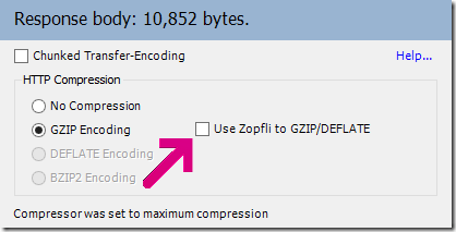 Zopfli checkbox on Transformer tab