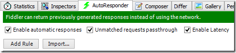 Fiddler AutoResponder tab with 3 boxes ticked
