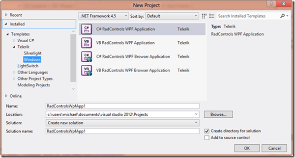 RadControls for WPF Control Suites is ready for VS2012 RTM!
