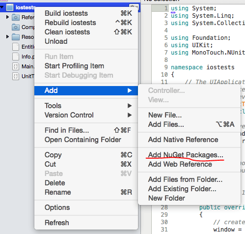 Add NuGet package in Xamarin Studio on Mac