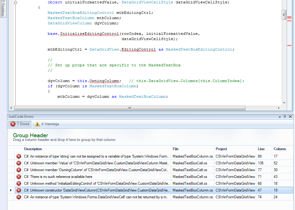 JustCode Errors Window