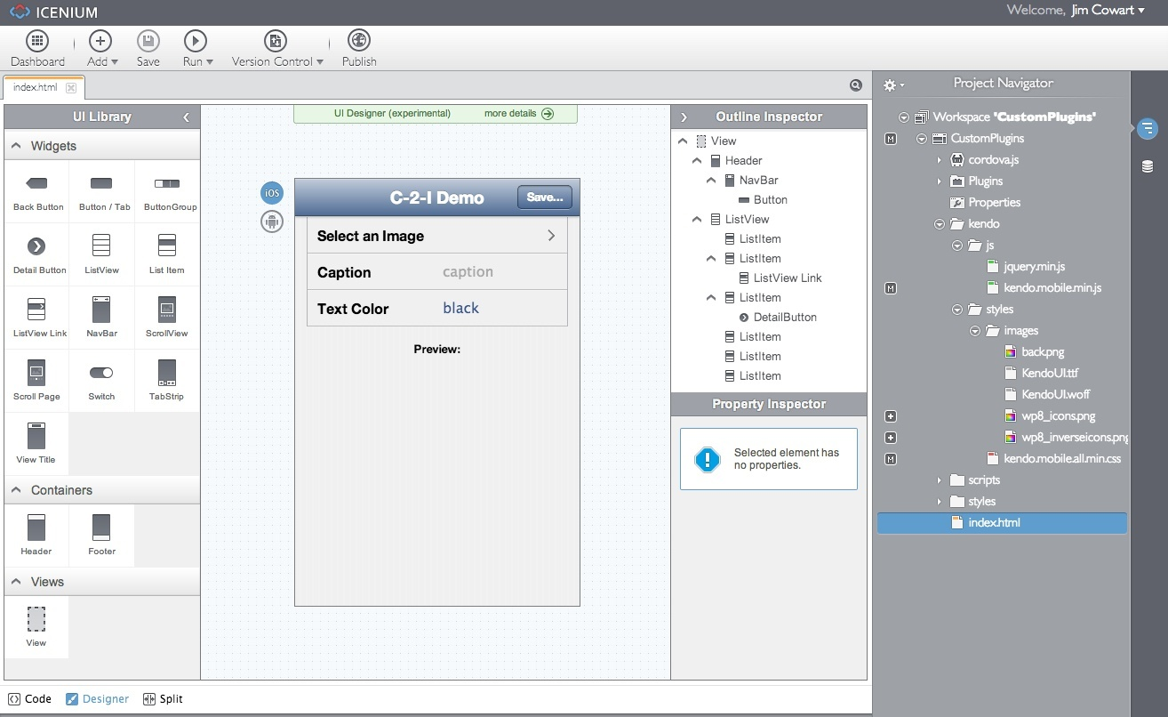 Custom cordova plugins with iceniumand more the designer view ccuart Choice Image