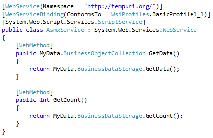 Simple ASMX service definition