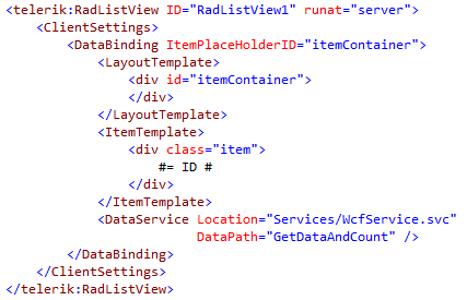 RadListView markup for binding to WCF service