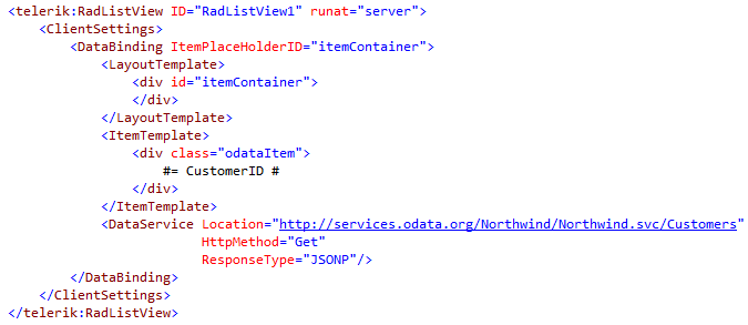 RadListView markup for binding to OData service