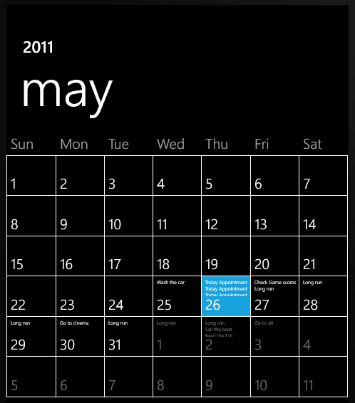 Windows Phone Calendar with appointments