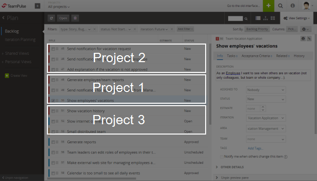 multi project backlog
