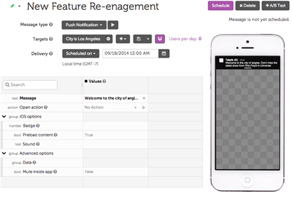 New Feature Re-engagement- Telerik Platform LeanPlum Example