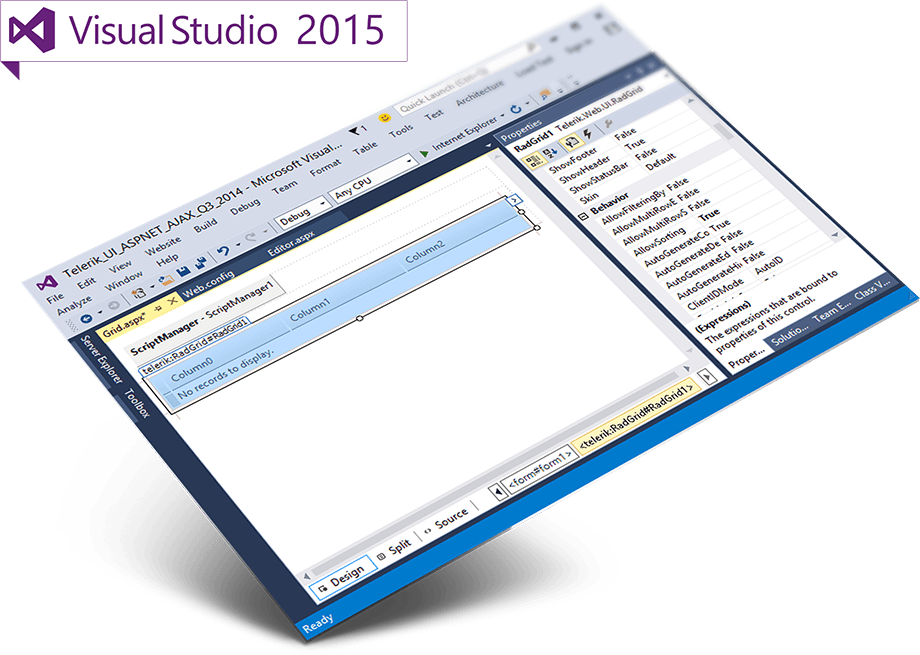 Telerik UI for ASP.NET AJAX in Visual Studio 2015 Preview
