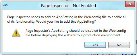 Page Inspector Warning