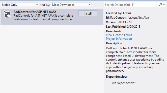 RadControls in NuGet Feed