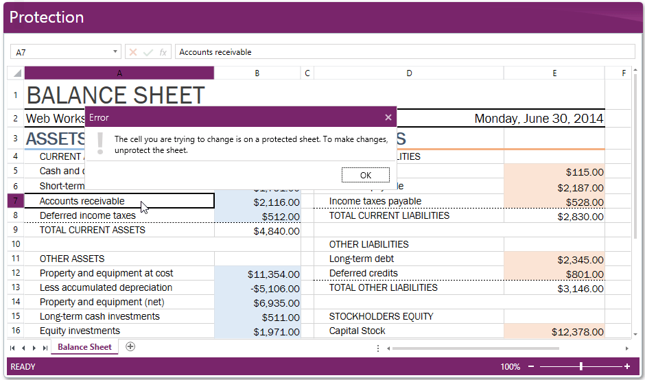 RadSpreadSheet Protection