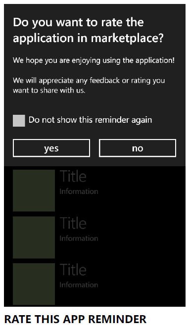 Rate Application Reminder for Windows Phone/WinRt
