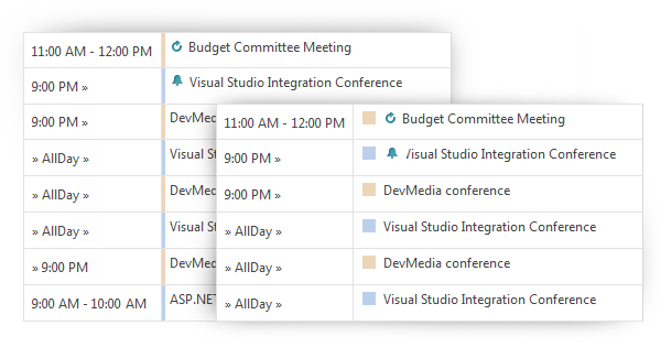 Agenda View Resource Marker Types