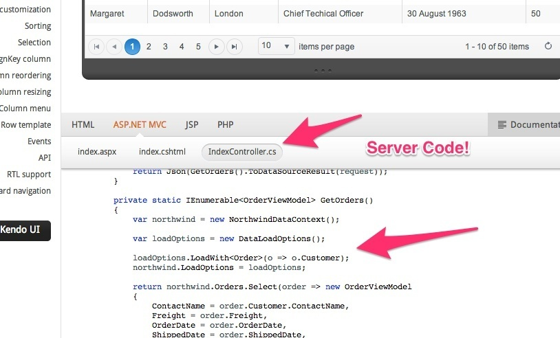 kendo datasource add item codes