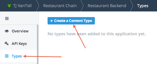 Image pointing out the Types menu and new content type button