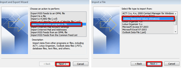 choose the exported .csv file