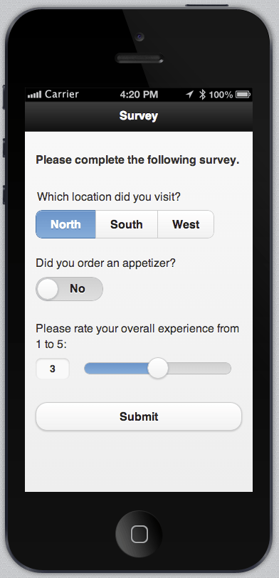 Display of the form built with jQuery Mobile in Icenium's iOS simulator