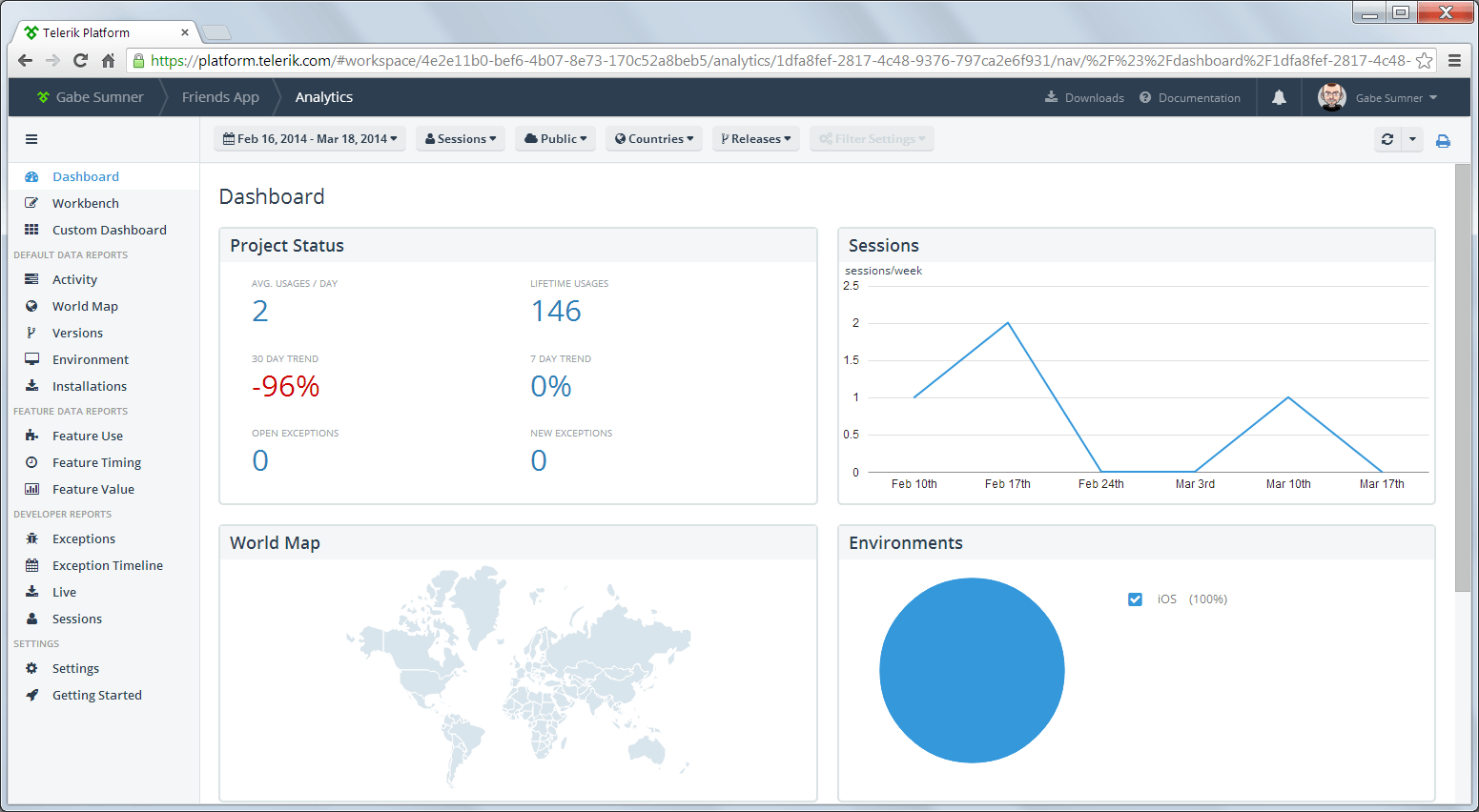 Telerik Analytics inside the Telerik Platform