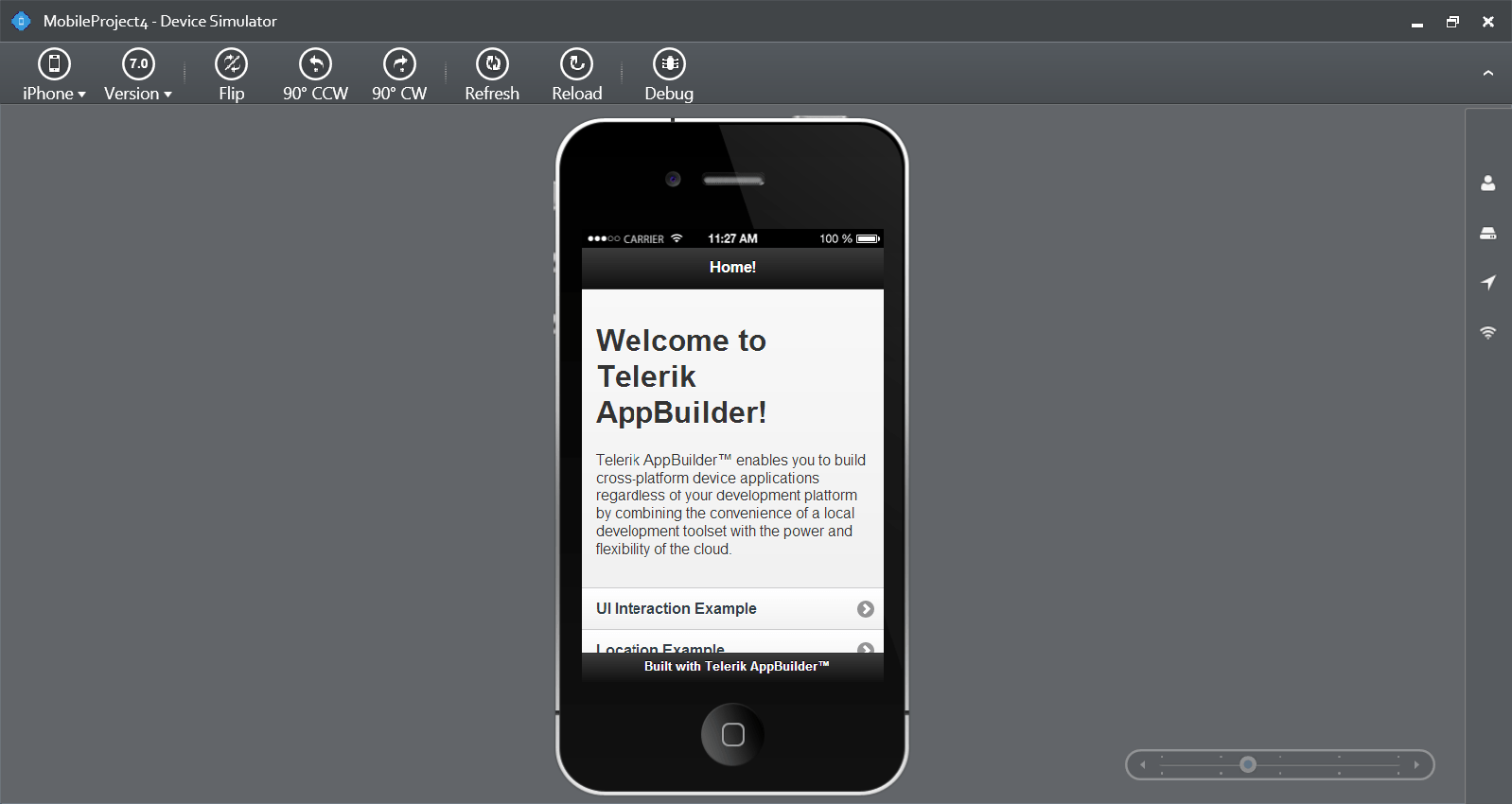 Telerik AppBuilder Mobile Simulator Inside Visual Studio