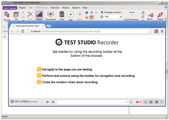 a preview of TestStudio R1 2013 Recording in Chrome