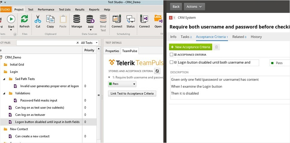 Acceptance criteria TeamPulse and Test Studio