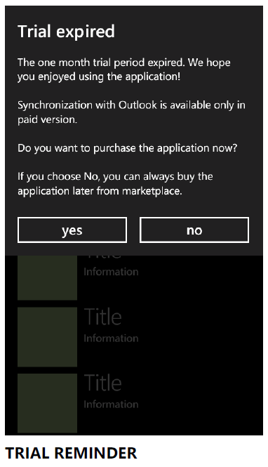 Trial functionality for Windows Phone/WinRt Metro application