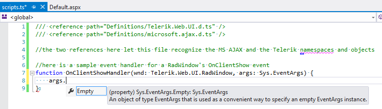 Intellisense shown for objects from the MS AJAX framework in a TypeScript file