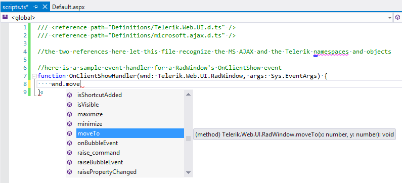 Intellisense shown for Telerik object in a TypeScript file