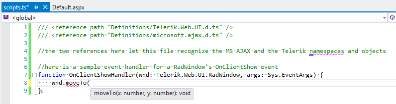 Intellisense shown for Telerik method in a TypeScript file