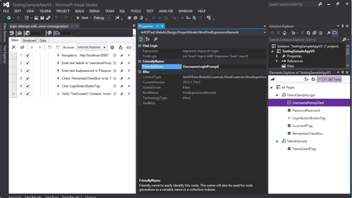 screenshot from and link to video: Using the Element Explorer in Test Studio's Visual Studio Plug-In