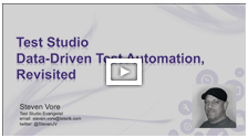 Telerik TV: Data-Driven Test Automation Using Test Studio, Revisited