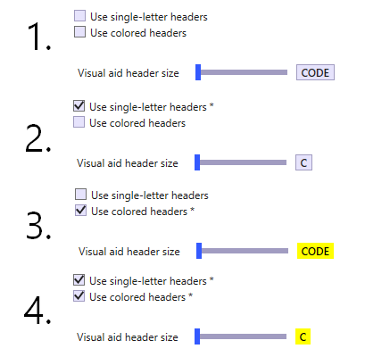 Visual Aid options