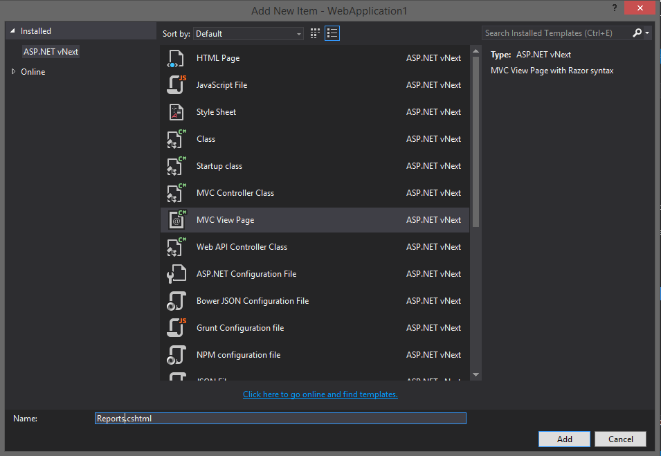Visual Studio 2015 Preview Add New MVC View Page