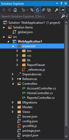 Visual Studio 2015 Preview Solution Explorer wwwroot