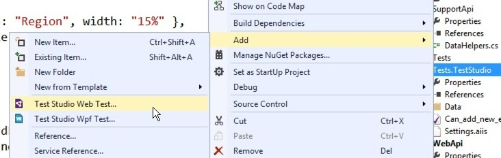 Visual Studio test adding