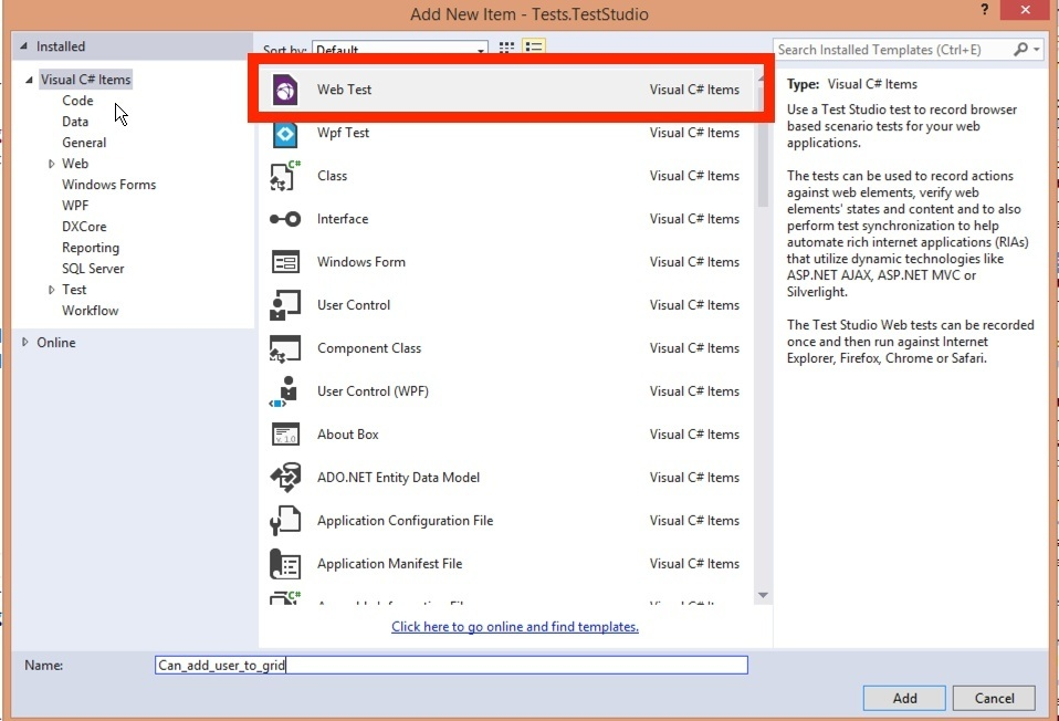 Add test to Visual Studio