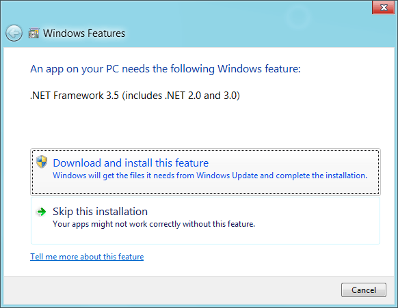 Install .NET 3.5 to run the demos