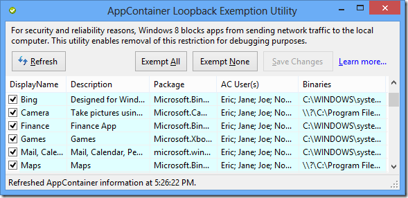 EnableLoopback Utility screenshot