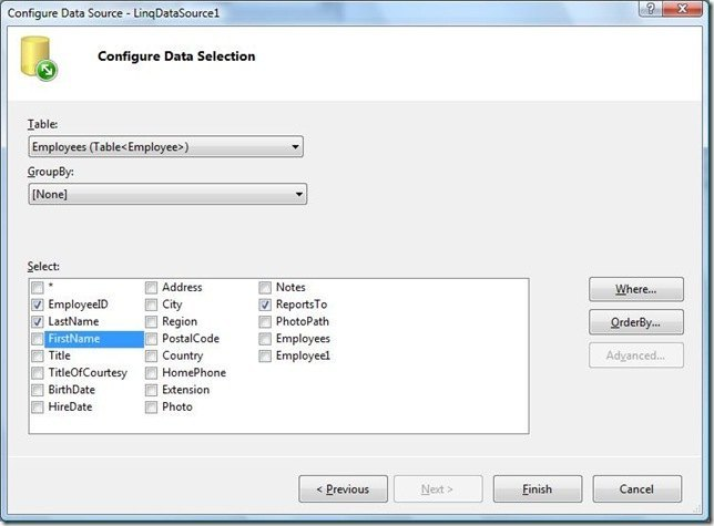 configuredataselection