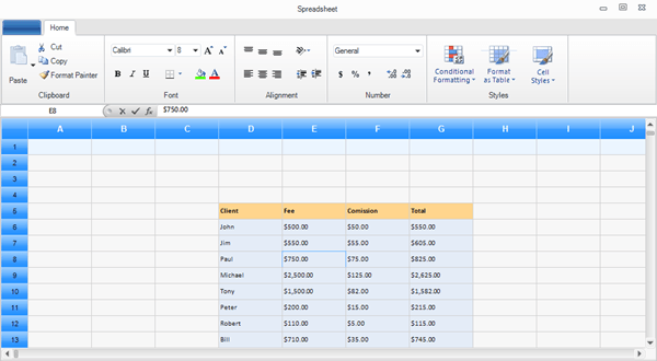 Spreadsheet example of RadGridView