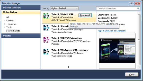 Telerik VSExtensions In ExtensionManager
