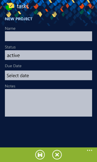 The 'Edit Project' page in the Tasks app made by Telerik