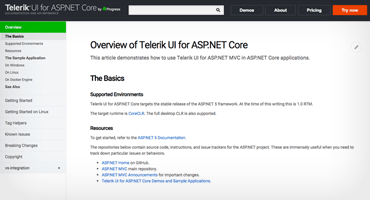 Telerik UI for ASP.NET Core Documentation