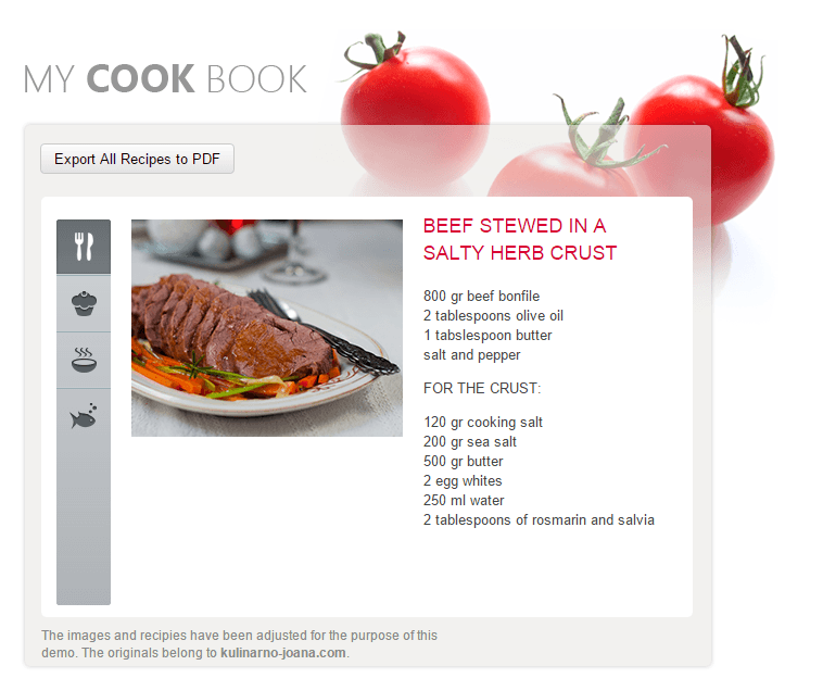export pdf cookbook