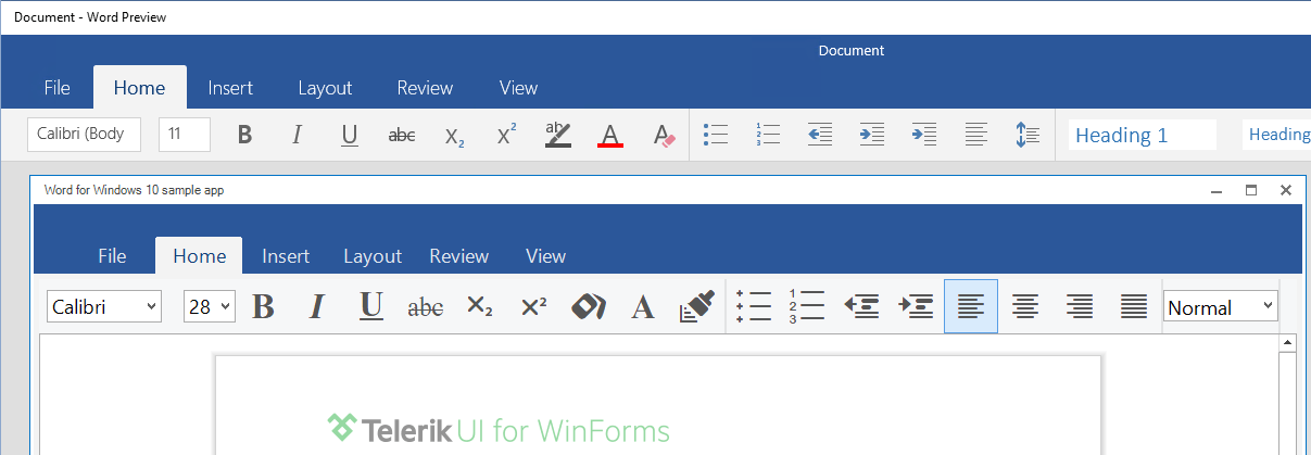 Office Universal App navigation bar with Telerik UI for WinForms