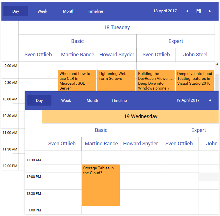 Telerik UI for WPF ScheduleView Hierarchical Resources image